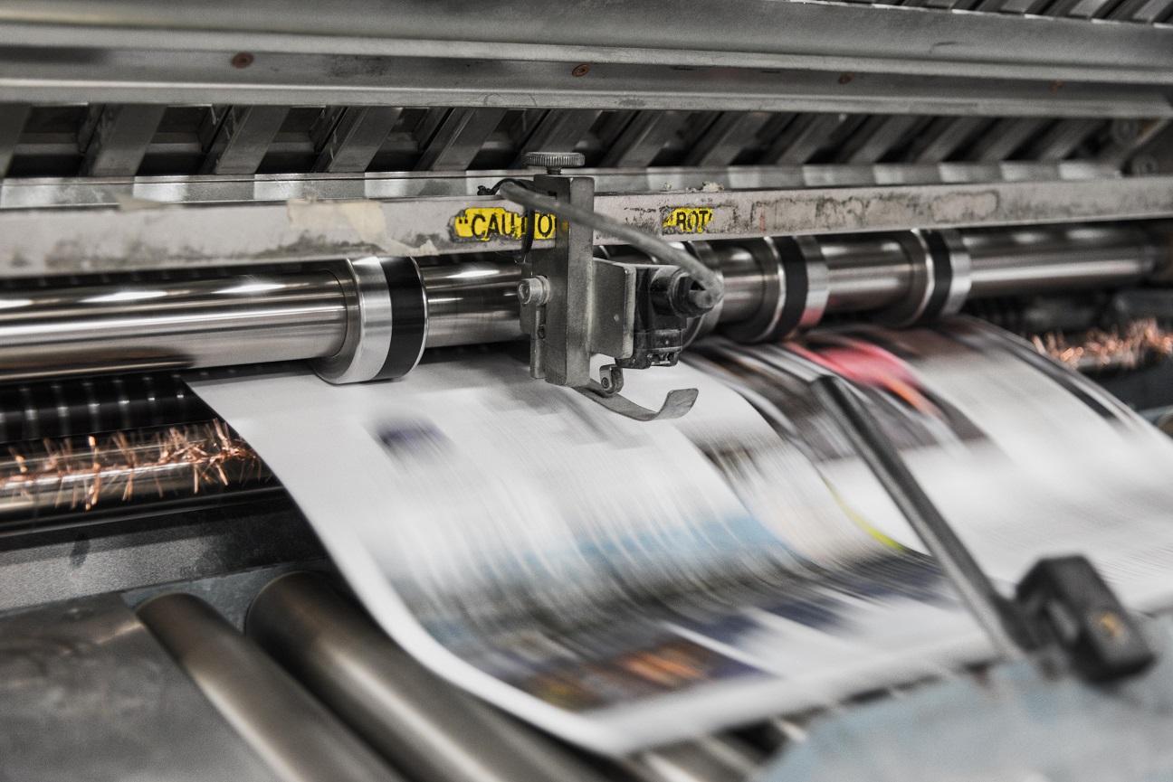 Illustrational image of printing machines